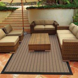 シンプル ストライプ柄 アウトドア ダイニングラグ ベージュ【Oriental Weavers Terrace Outdoor Lanai 720X5 Rug】
