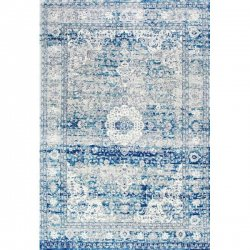 ペルシャ柄 メダリオン ヴィンテージ風ラグ ライトブルー【Bosphorus BD07 Distressed Persian Light Blue Rug】
