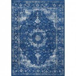 ペルシャ柄 メダリオン ヴィンテージ風ラグ ダークブルー【Bosphorus BD07 Distressed Persian DARK BLUE Rug】
