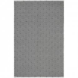 ファブハビタット ダイヤ柄 リサイクルコットン 綿 平織りラグ ブラック 【FabHabitat Veria - Black - Cotton】