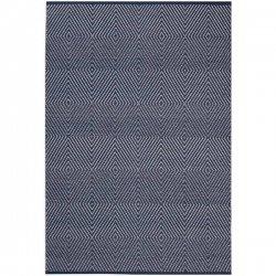 ファブハビタット ダイヤ柄 リサイクルコットン 綿 平織りラグ ネイビー【Fab Habitat Zen - Dark Blue & Bright White - Cotton】