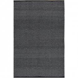 ファブハビタット ダイヤ柄 リサイクルコットン 綿 平織りラグ ブラック【Fab Habitat Zen - Black & Bright White - Cotton】
