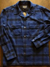 PENDLETON : OPEN COLLAR SHIRT (ombre check/blue)