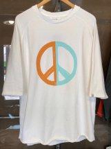 TURN ME ON :【PEACE】Half Sleeve-Tee (white)