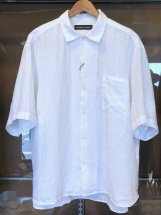 ARROWED TO UNFOLD : Mist Dyed Linen S/S Shirts (white)