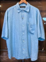 ARROWED TO UNFOLD : Mist Dyed Linen S/S Shirts (mint)