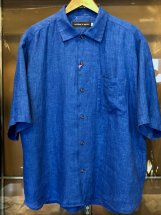 ARROWED TO UNFOLD : Mist Dyed Linen S/S Shirts (r/blue)