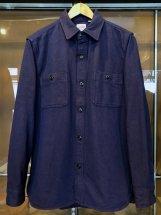 HOUSTON : Solid Viyella Work Shirts (navy)