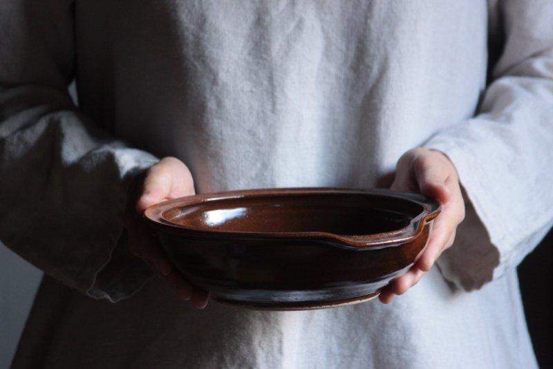 原泰弘 おろし付き鉢(茶)