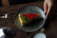 池田大介 三島ケーキ皿(ヘリンボーン/白)