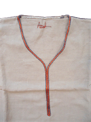 Linen kaftan-Taupe and Gray and Brick border-