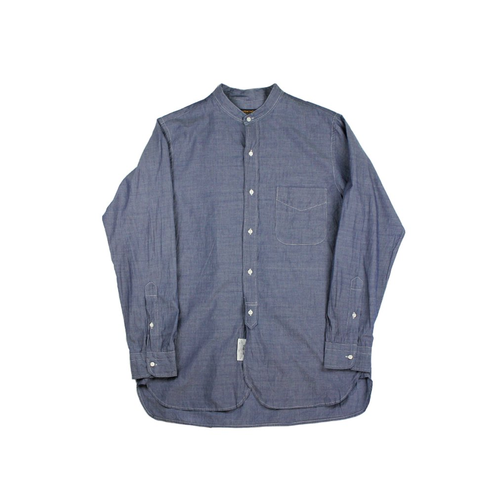 【Bricklayer Exclusive】Banded Collar Shirts -Rope Indigo Stuttle Broad-