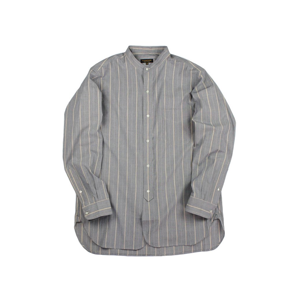 【Bricklayer Exclusive】 Banded Collar Shirts -End on End Stripe-