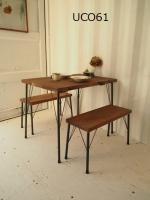 ●アイアン脚●ダイニングテーブル 900×600(ダーク)