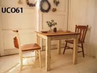 【SALE】カフェテーブル 800×800(ダーク×ホワイト シャビー加工)