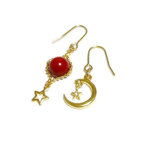 【宙/SORA】星と三日月と赤珊瑚・ピアス・ゴールドトーン