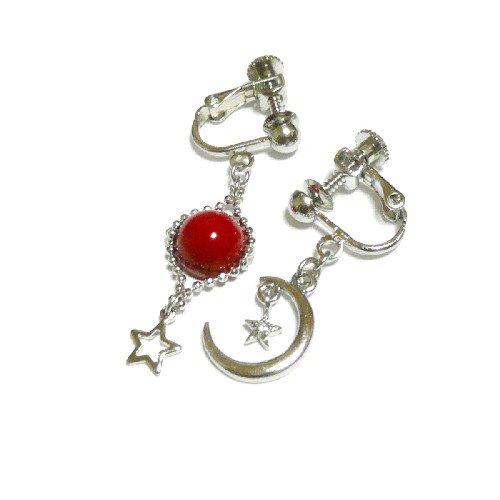 【宙/SORA】星と三日月と赤珊瑚・イヤリング