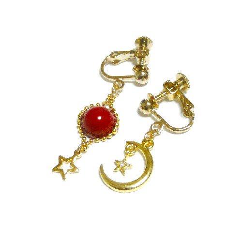 【宙/SORA】星と三日月と赤珊瑚・イヤリ...
