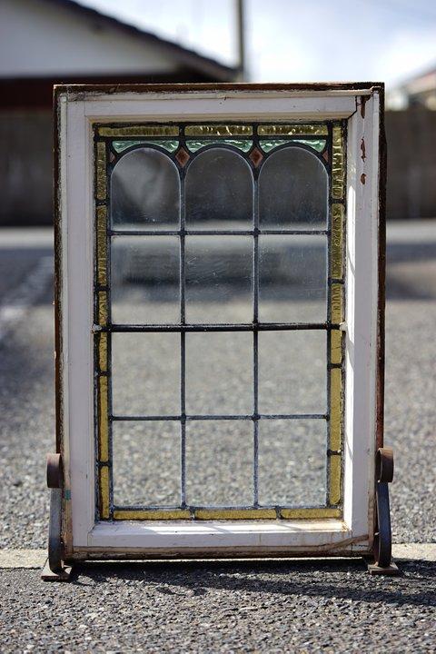 イギリスアンティーク ステンドグラス/アイアンポール/イエロー・ブルー・パープル