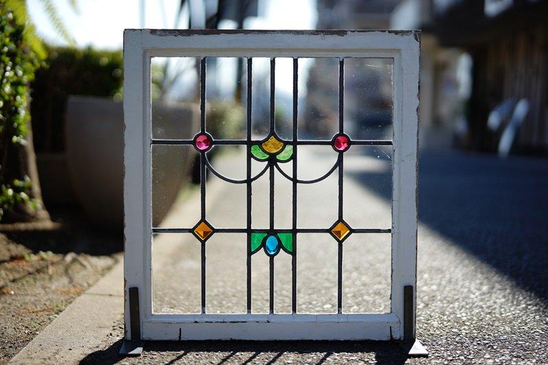 イギリスアンティーク ステンドグラス/立体ガラス/ダイヤ・サークル・オーバル/RD×BL×GR×OR×YE
