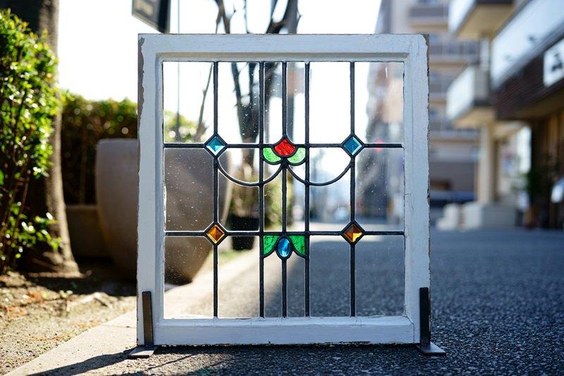 イギリスアンティーク ステンドグラス/立体ガラス/ダイヤ・オーバル/RD×BL×GR×OR