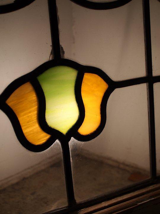 イギリスアンティーク ステンドグラス/濁りガラス/GR×YE