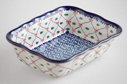 ポーランド陶器 ボレスワヴィエツ「ミレナ社」長方形オーブンディッシュ 小