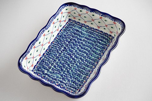 ポーランド陶器 ボレスワヴィエツ「ミレナ社」長方形オーブンディッシュ 大