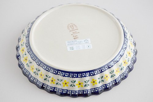 ポーランド陶器 ボレスワヴィエツ「ミレナ社」ラウンド・オーブンディッシュ 25cm