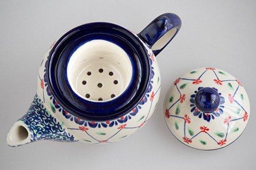 ポーランド陶器 ボレスワヴィエツ「ミレナ社」ティーポット 茶こし付 0.5L