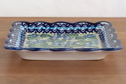 ポーランド陶器「ボレスワヴィエツ社」スクエアプレート 16cm【フォルクロア小花】