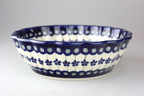 ポーランド陶器「ボレスワヴィエツ社」ウェイブボウル 21cm【藍目玉×リーフ】