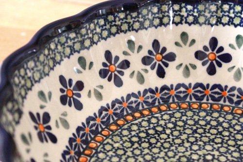 ポーランド陶器「ボレスワヴィエツ社」ウェイブボウル 21cm【菱花 青×緑】