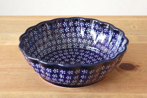 ポーランド陶器「ボレスワヴィエツ社」ウェイブボウル 21cm【藍地×白小花】