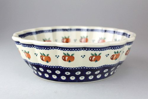 ポーランド陶器「ボレスワヴィエツ社」ウェイブボウル 21cm【藍目玉×オレンジ実】