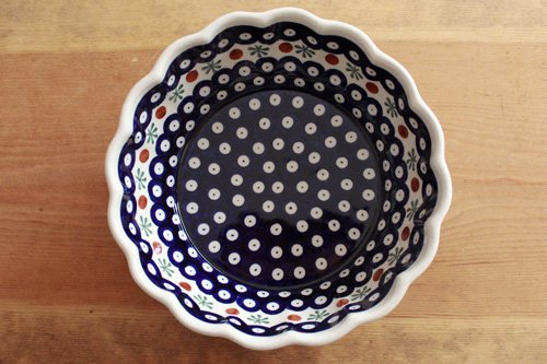 ポーランド陶器「ボレスワヴィエツ社」ウェイブボウル 21cm【藍目玉×バタフライ】