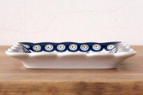 ポーランド陶器「ボレスワヴィエツ社」スクエアプレート 16cm【ピーコック×リーフ】