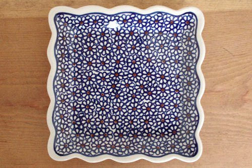 ポーランド陶器「ボレスワヴィエツ社」スクエアプレート 16cm【ブルーデイジー】