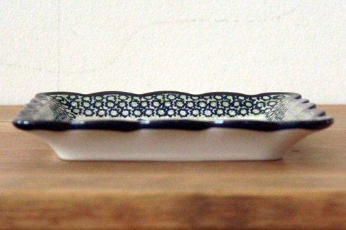 ポーランド陶器「ボレスワヴィエツ社」スクエアプレート 16cm【菱花 青×緑】