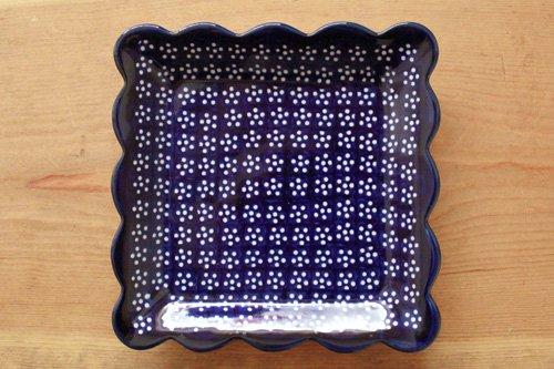 ポーランド陶器「ボレスワヴィエツ社」スクエアプレート 16cm【藍地×白小花】
