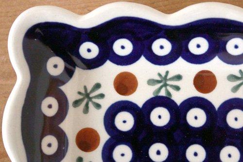 ポーランド陶器「ボレスワヴィエツ社」スクエアプレート 16cm【藍目玉×バタフライ】