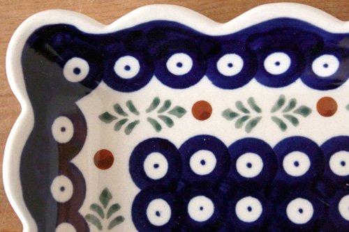 ポーランド陶器「ボレスワヴィエツ社」スクエアプレート 16cm【藍目玉×リーフ】