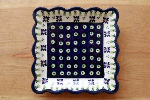 ポーランド陶器「ボレスワヴィエツ社」スクエアプレート 16cm【緑目玉×青角花】