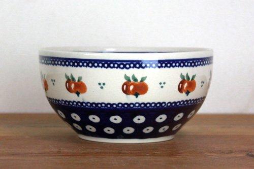 ポーランド陶器「ボレスワヴィエツ社」スープボウル【藍目玉×オレンジ実】