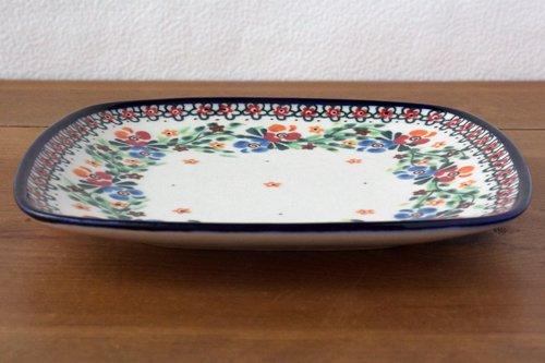 ポーランド陶器 ボレスワヴィエツ「ミレナ社」スクエアプレート 18cm
