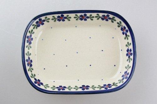 ポーランド陶器 ボレスワヴィエツ「ミレナ社」角皿 小