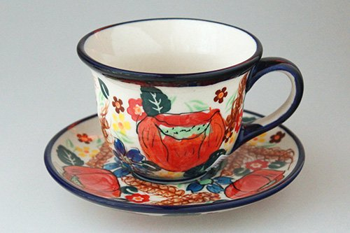 ポーランド陶器 ボレスワヴィエツ「ミレナ社」ティー カップ&ソーサー