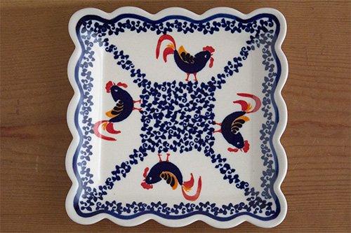 ポーランド陶器「ボレスワヴィエツ社」スクエアプレート 16cm【藍目玉×オレンジ実】
