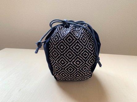 伝統柄バッグ-丸袋(藍染)-