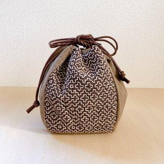 伝統柄バッグ-丸袋(柿渋・大島紬)-
